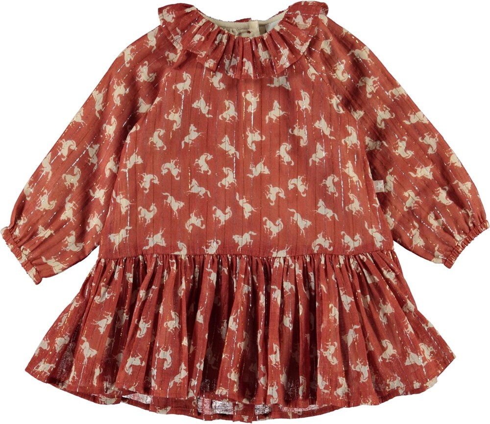 Corinne - Mini Horse Woven - Brown baby dress with horses