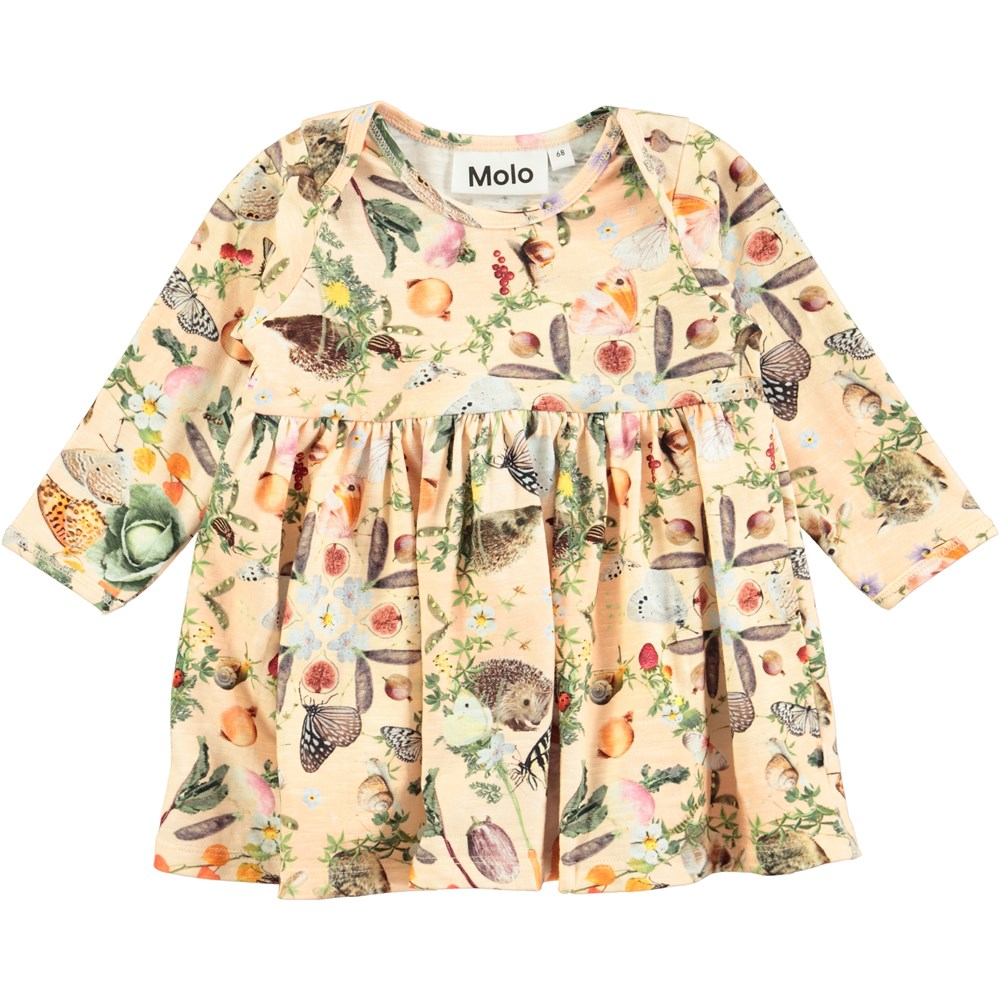 Cosima Eat Your Greens Long Sleeve Baby Dress With Digital