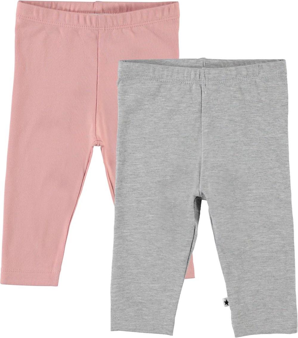 Nette 2-pack - Grey Rose - Organic 2-pack baby leggings grey and rose