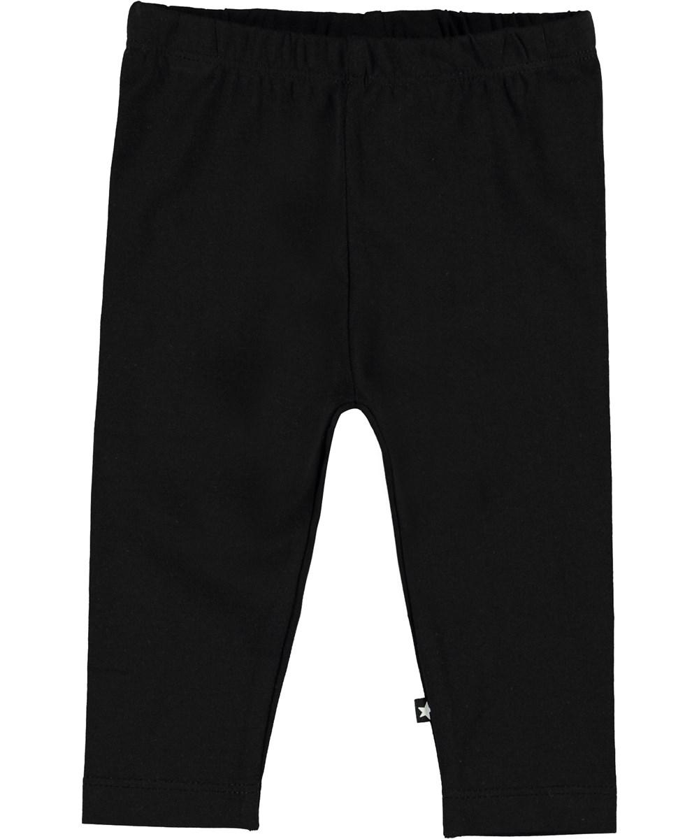 Nette Solid - Black - Organic black baby leggings