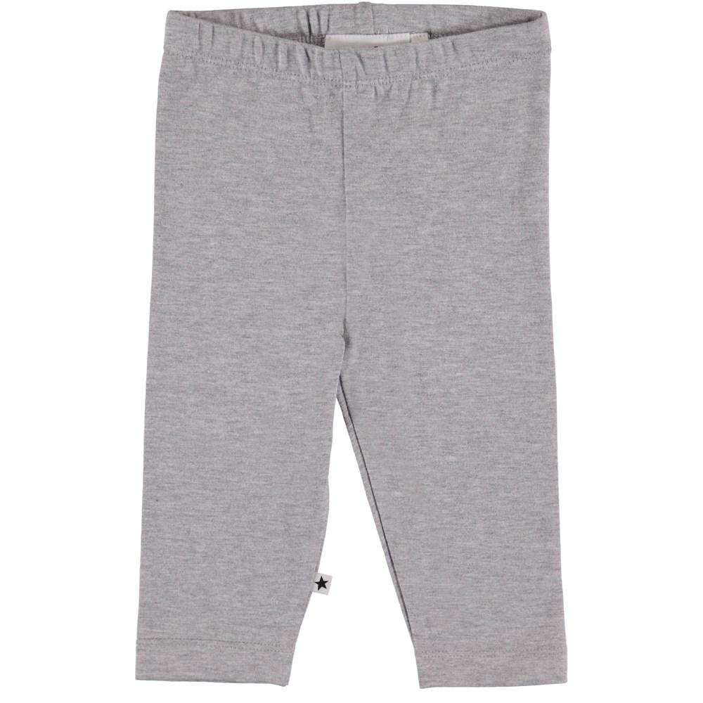 Nette Solid - Light Grey Melange - Grey melange baby leggings.