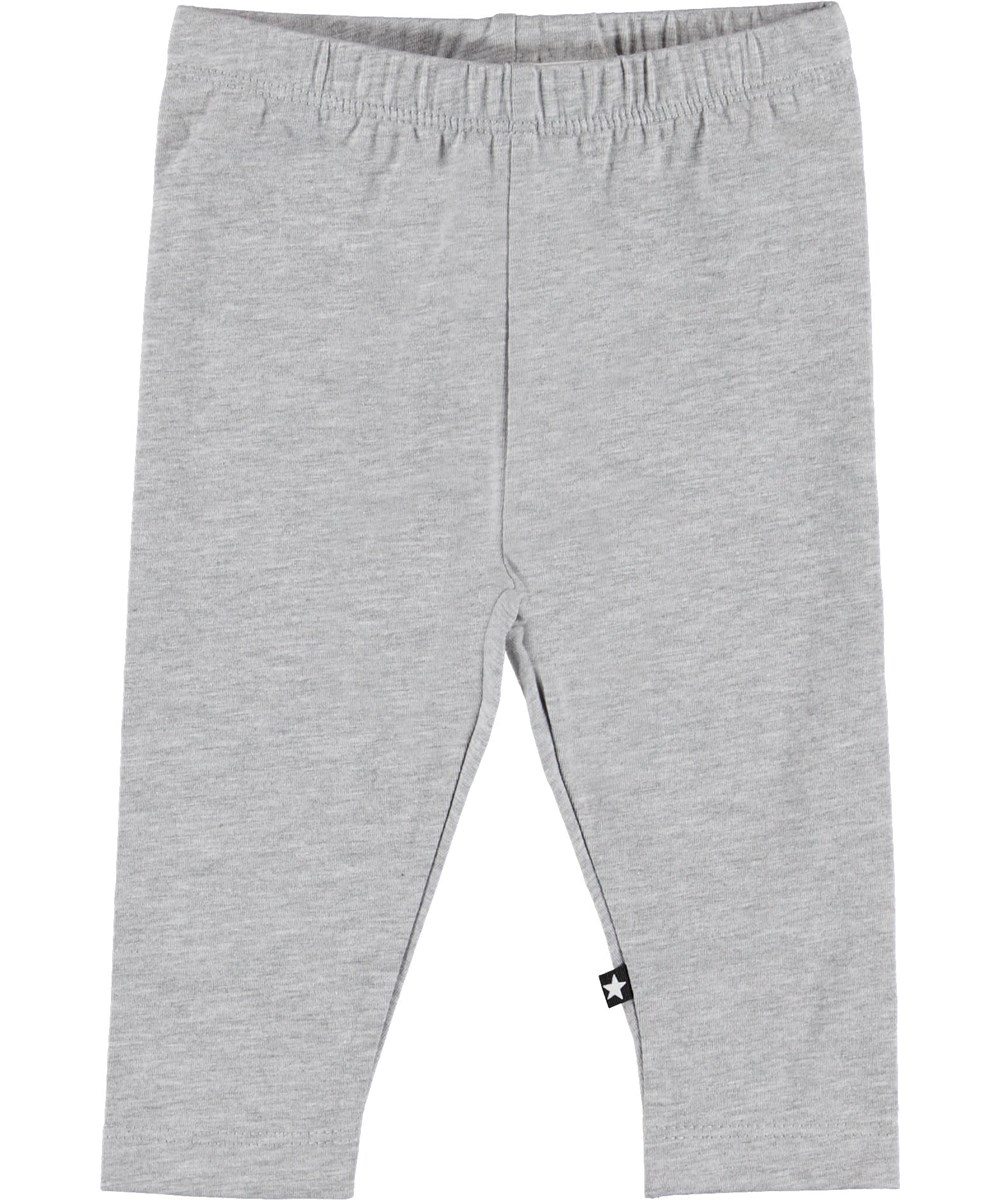 Nette Solid - Light Grey Melange - Grey baby leggings.