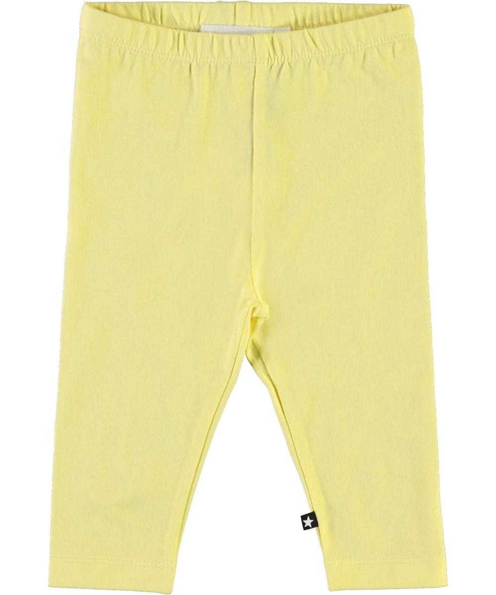Nette solid - Pale Lemon - Yellow organic baby leggings
