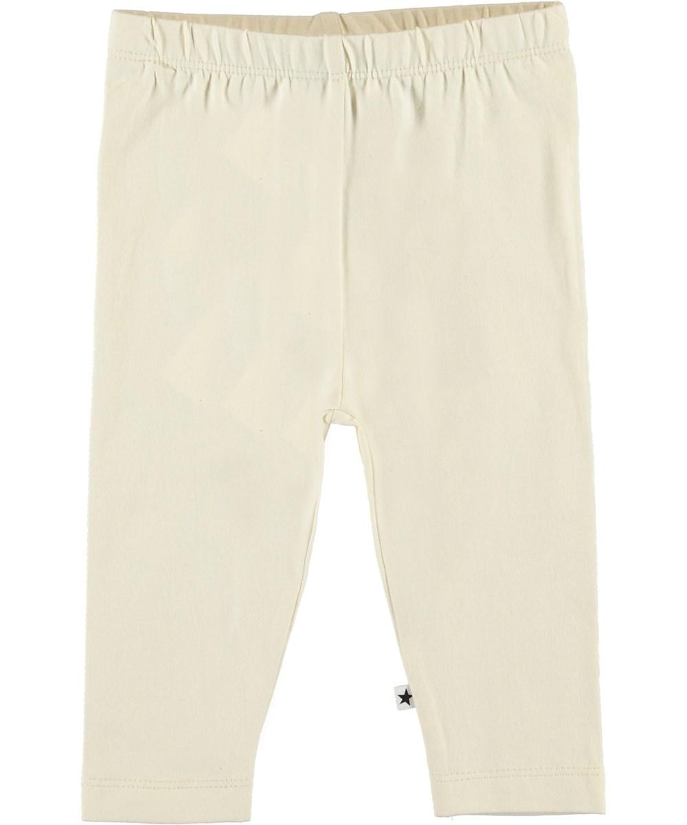 Nette Solid - Pearled Ivory - Organic light-coloured baby leggings