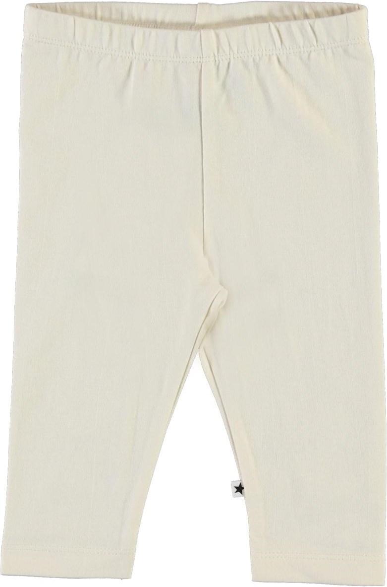 Nette solid - Pearled Ivory - Light coloured, organic baby leggings