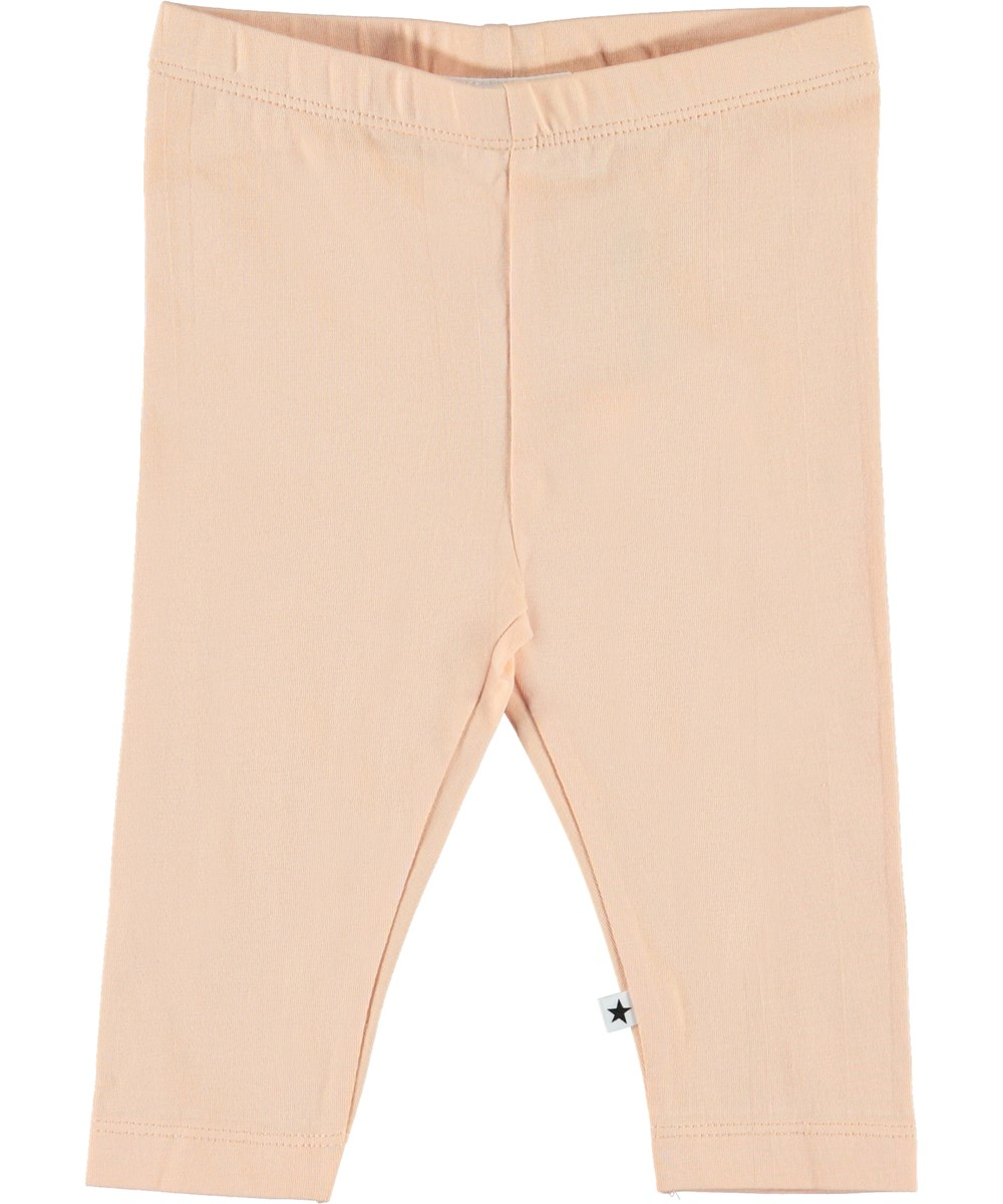 Nette Solid - Pacific Coral - Organic coral-coloured baby leggings