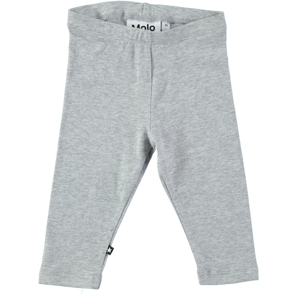 Nette solid - Grey Melange - Grey cotton leggings