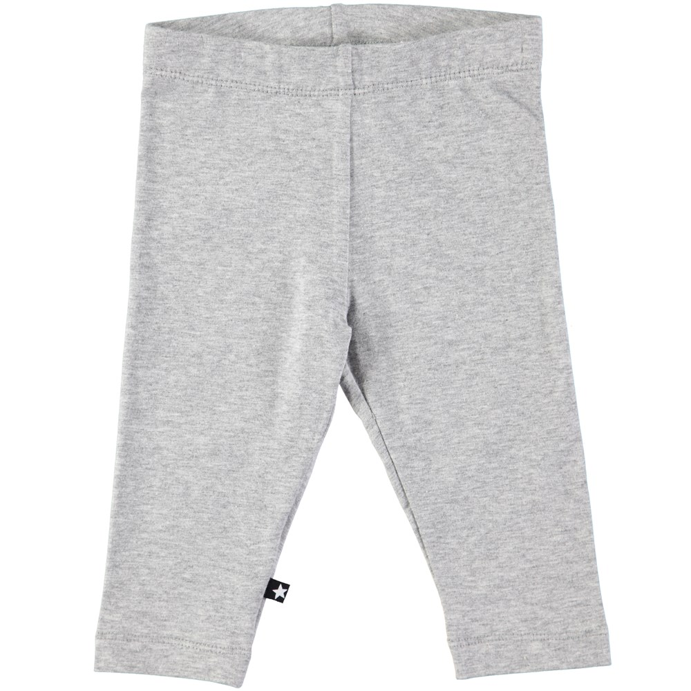 Nette solid - Grey Melange - Grey baby leggings