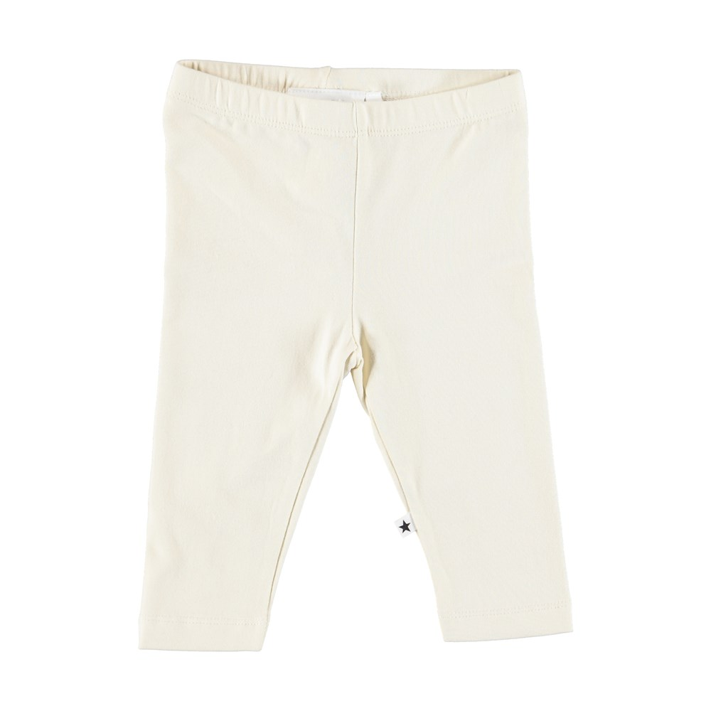 Nette solid - Pearled Ivory - Cream coloured baby leggings