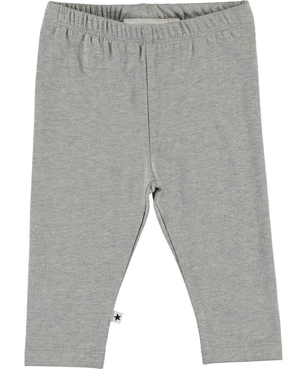 Nette Solid - Grey Melange - Grey organic baby leggings
