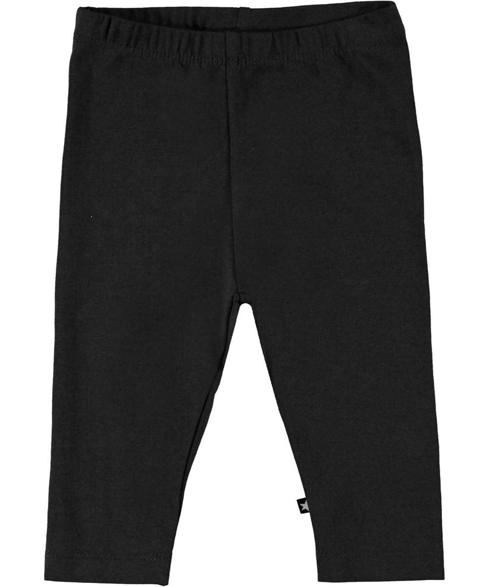 Nette solid - Black - Black organic baby leggings