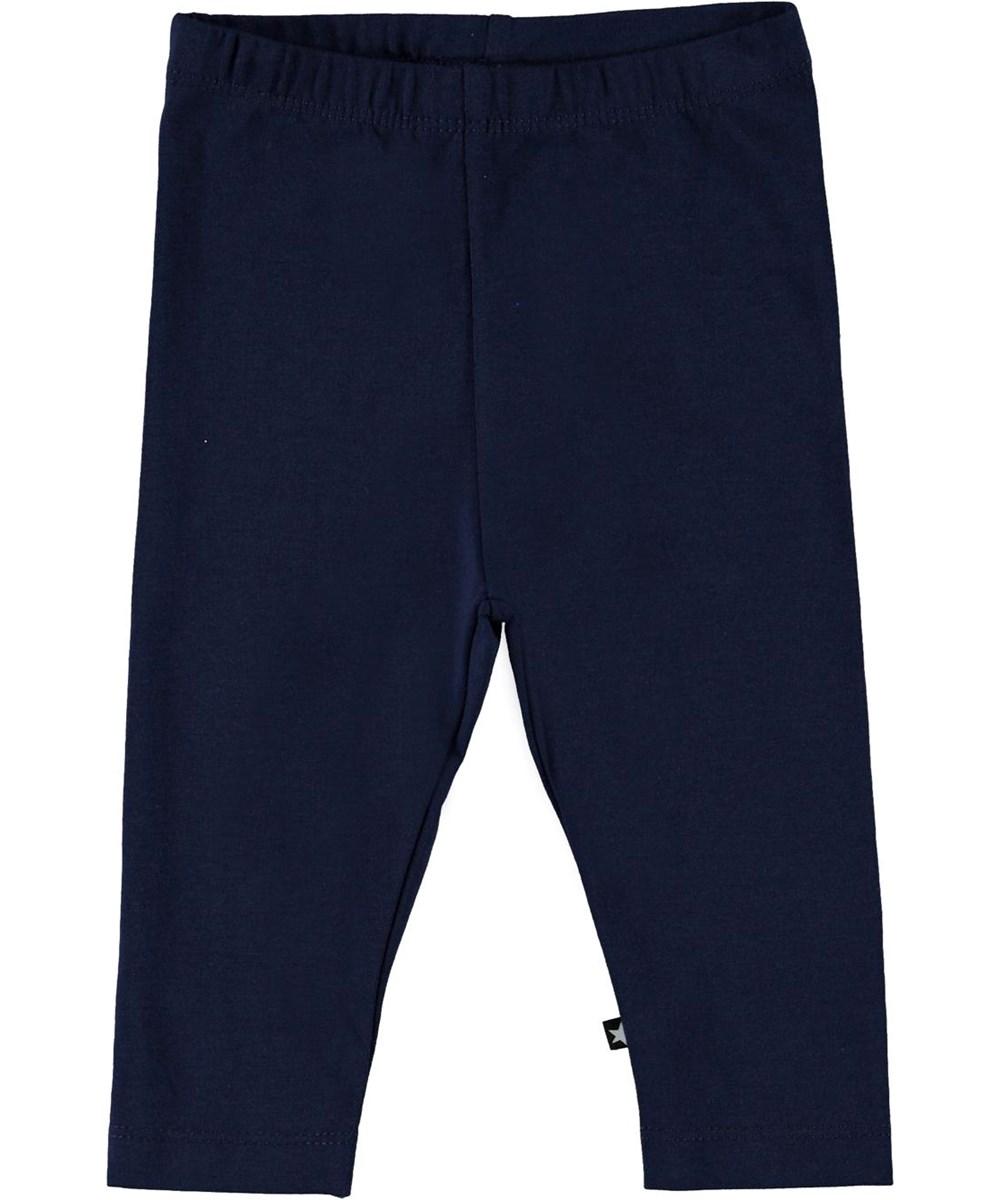 Nette solid - Peacoatforest Dinos - Dark blue organic baby leggings