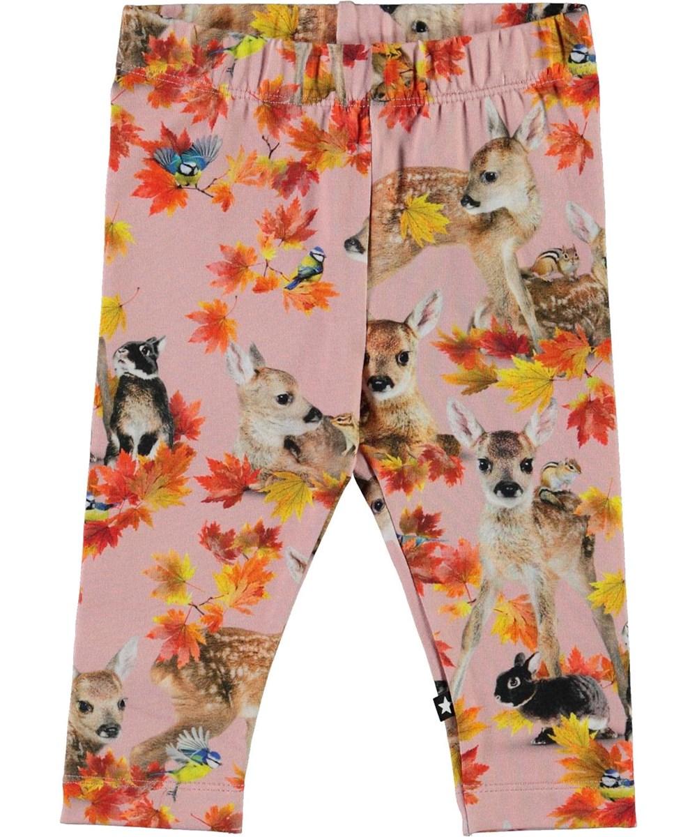 Stefanie - Autumn Fawns - Pink organic leggings with animals