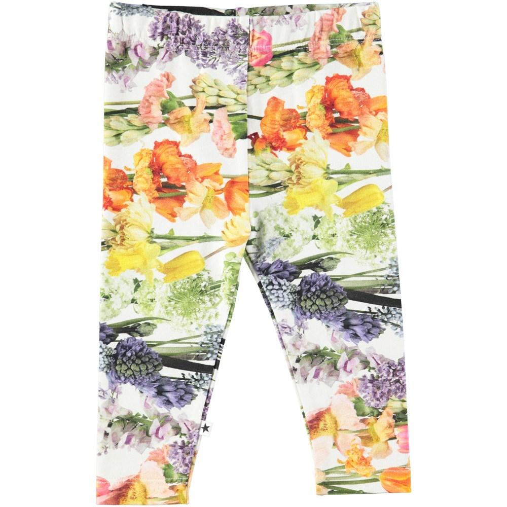 Stefanie - Rainbow Bloom - Baby leggings with digital flower print