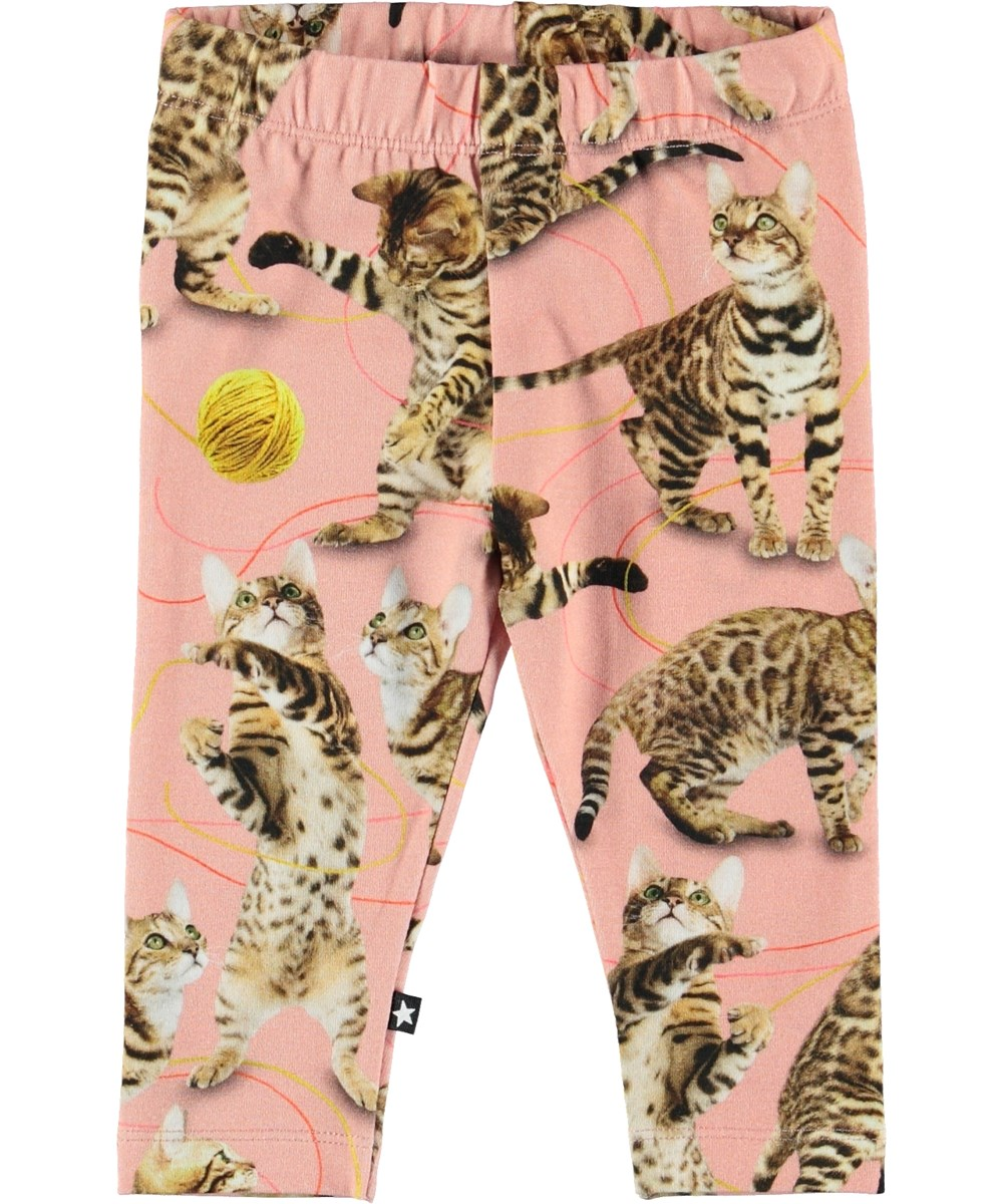 Stefanie - Wannabe Leopard - Baby leggings with cats.