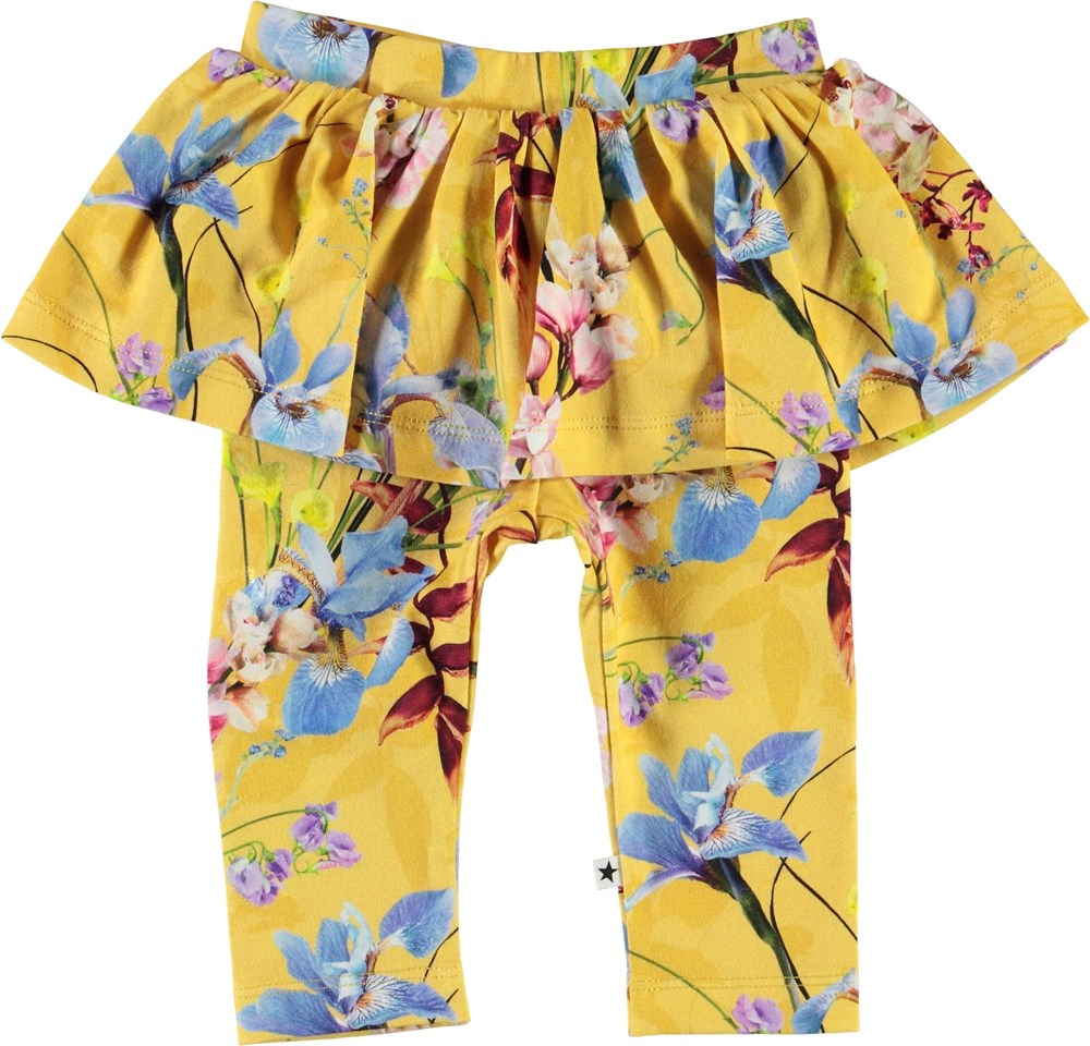 Susan - The Art Of Flowers - Yellow baby leggings with skirt