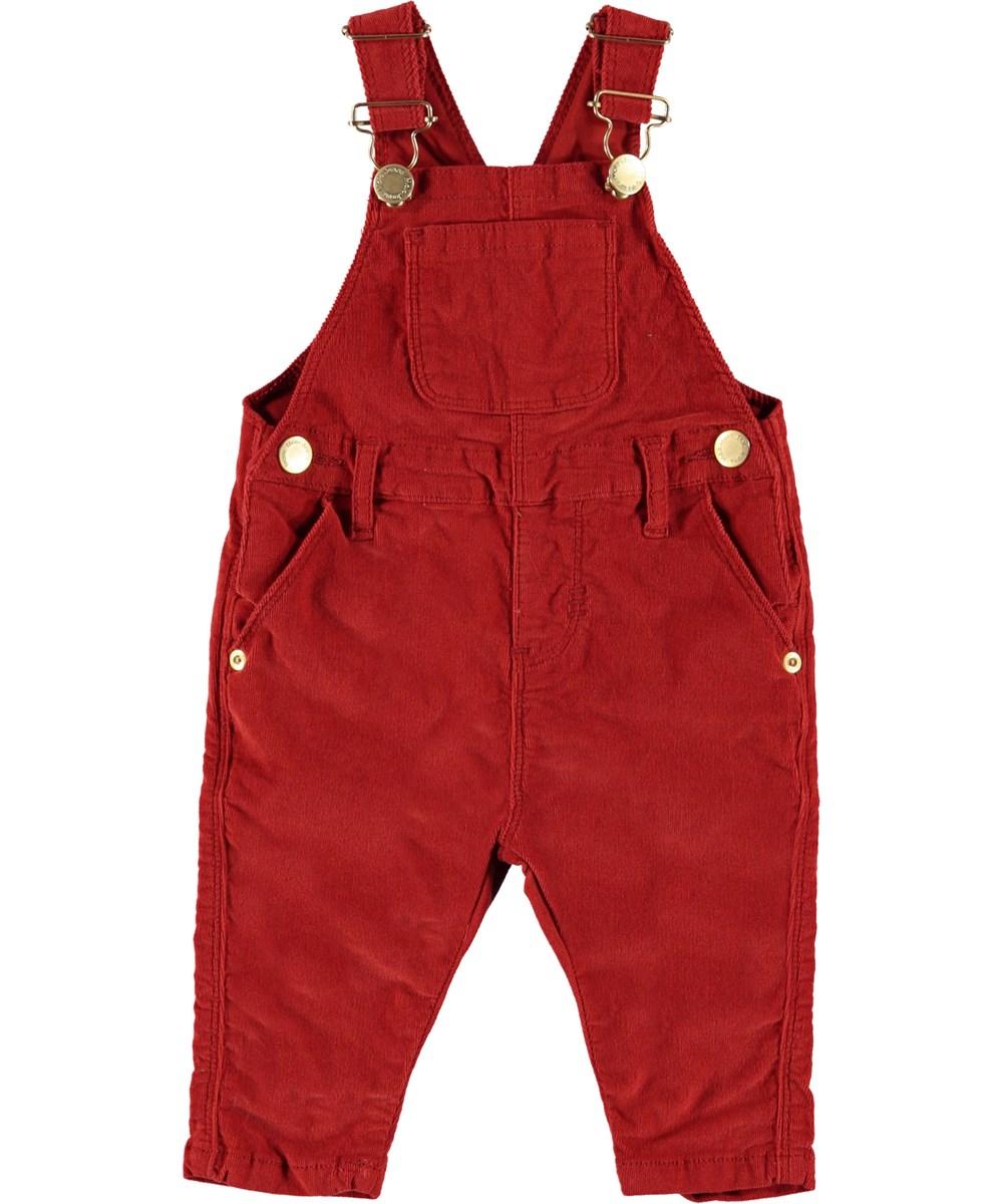 Sadie - Vermilion Red - Red baby dungarees.
