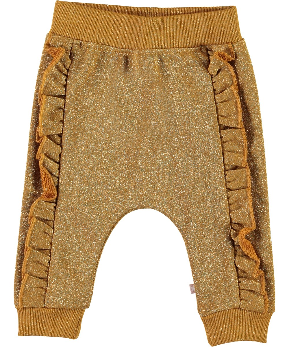 Safira - Gold Leaf - Golden glitter baby trousers
