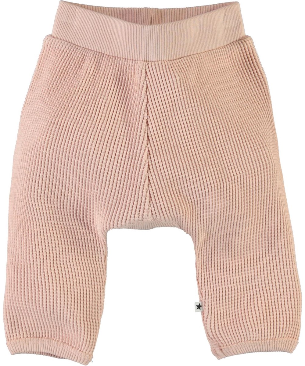 Samantha - Petal Blush - Organic, rose, waffle knit baby trousers