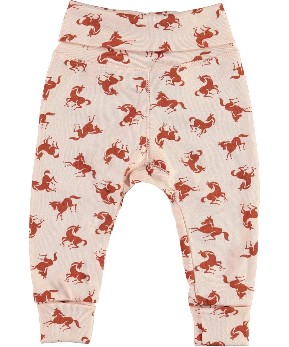 San - Mini Horse Jersey - Pink organic baby trousers with horses