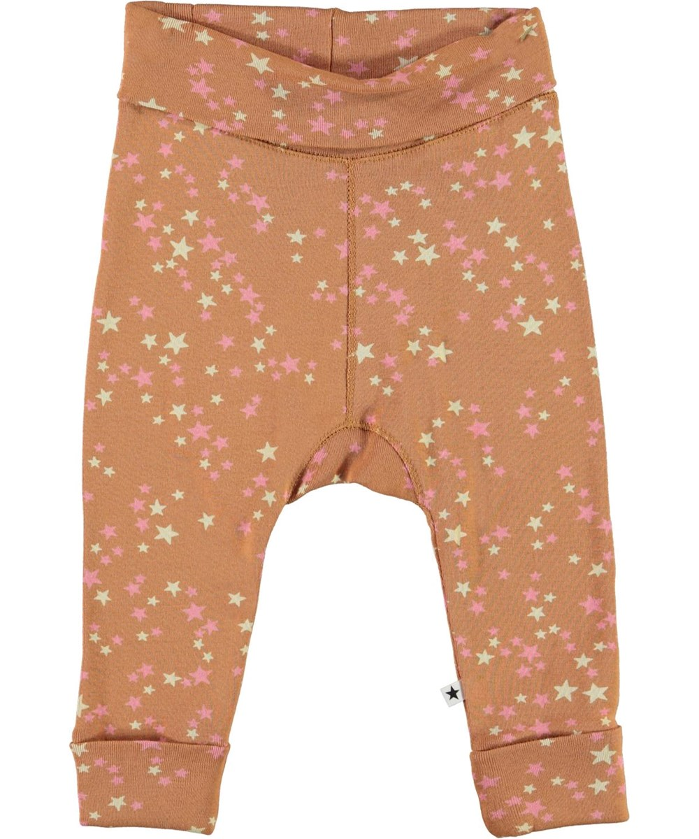 San - Starry Deer - Brown organic baby trousers with stars
