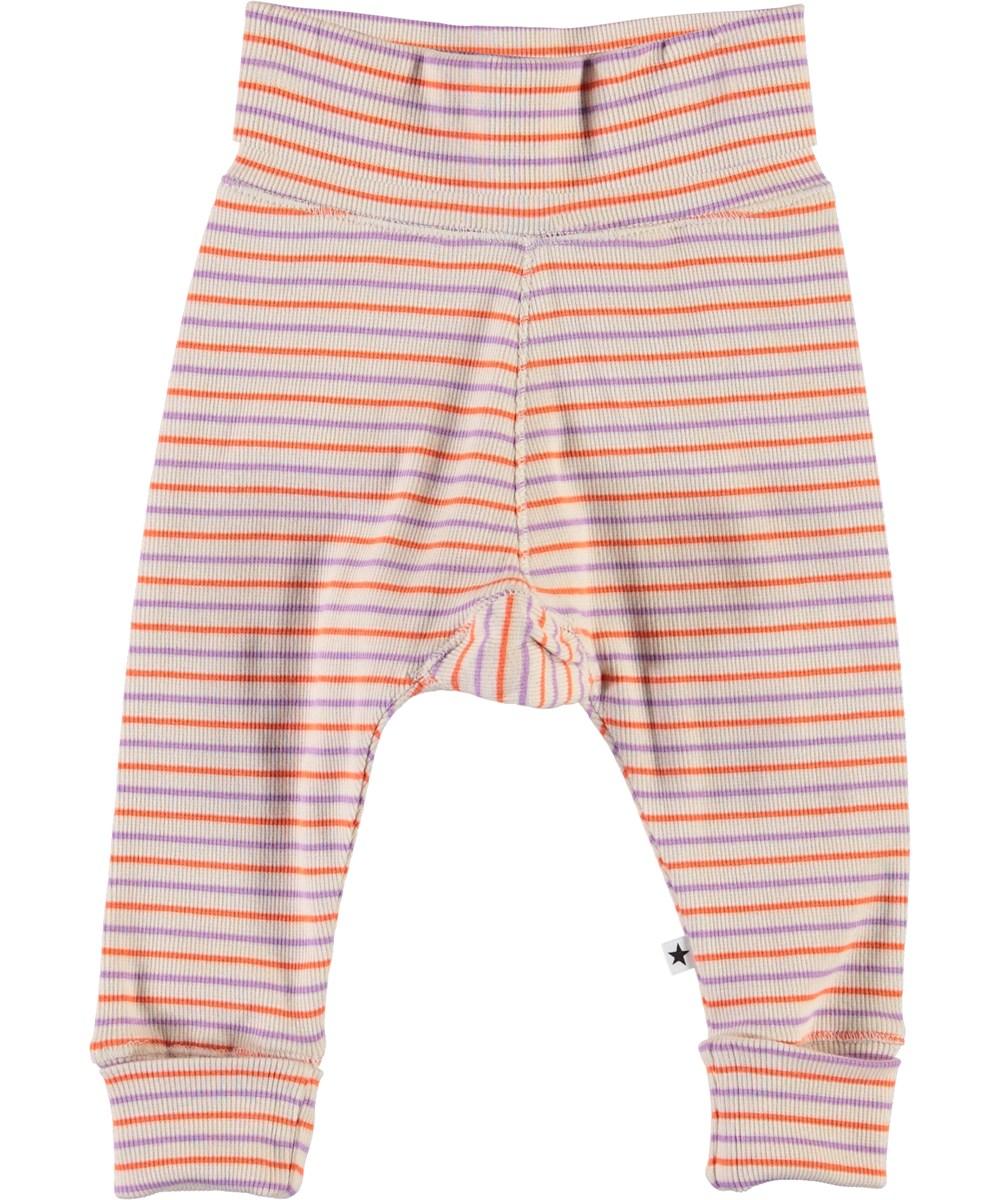 Sara - Purple Orange Stripe - Striped baby trousers