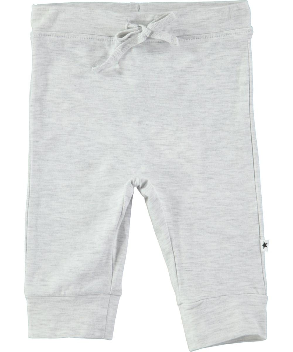 Selena - Snow Melange - White melange cotton trousers