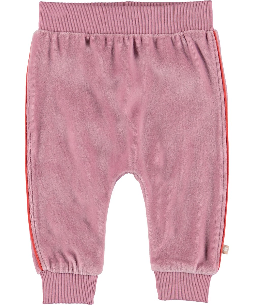 Shona - Purple Haze - Baby trousers in rose velour.