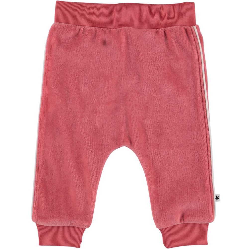 Shona - Rare Orchid - Velour baby trousers.