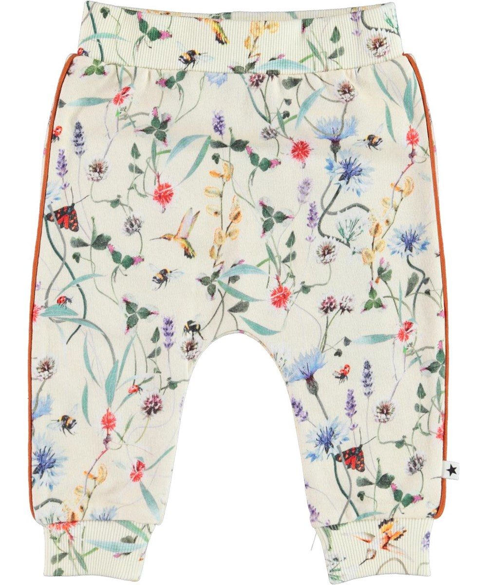 Shona - Wildflowers_Baby - Light coloured organic baby trousers with flowers