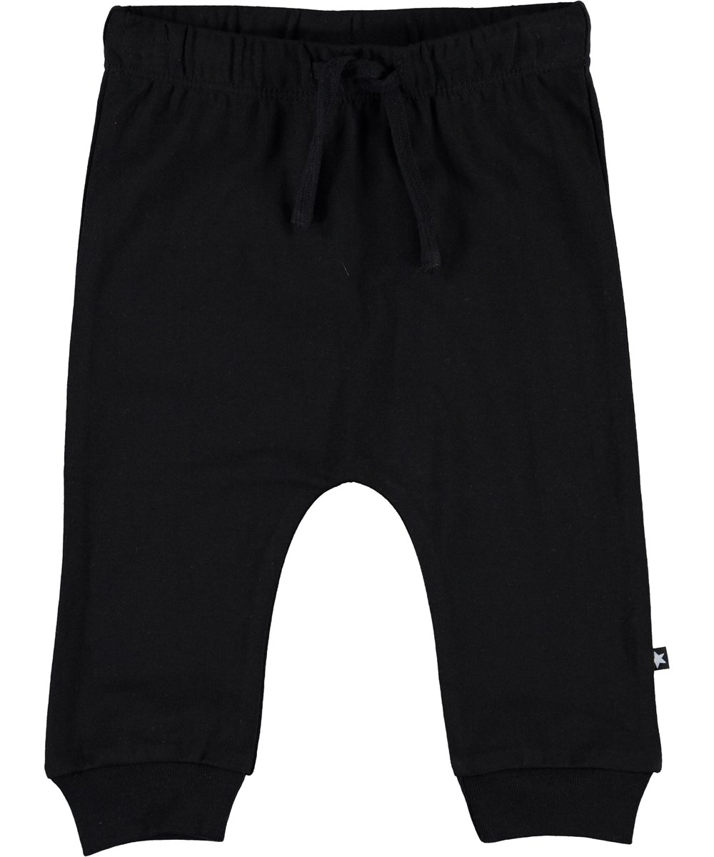 Sille - Black - Black baby trousers with ties