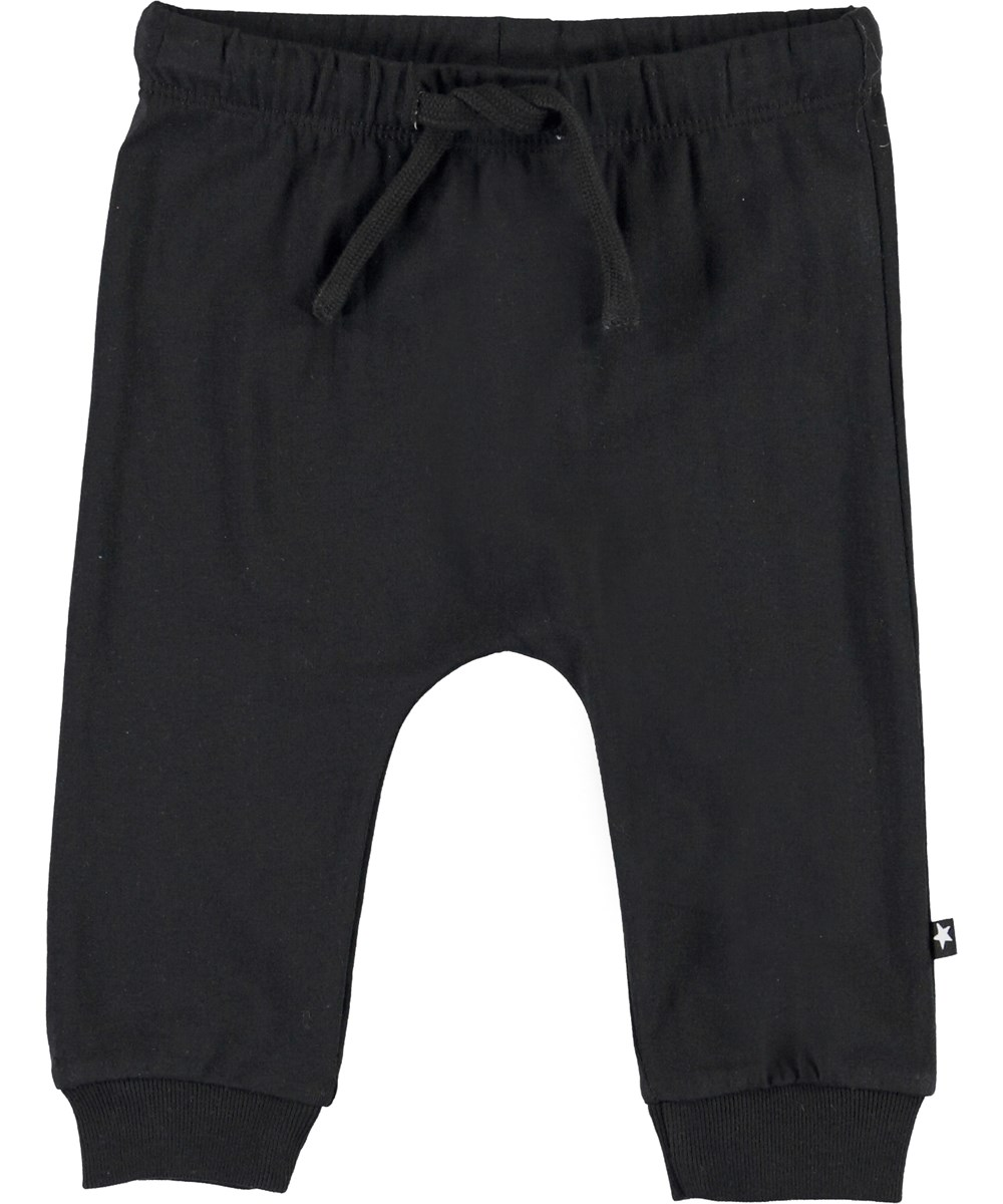 Sille - Black - Black organic baby trousers