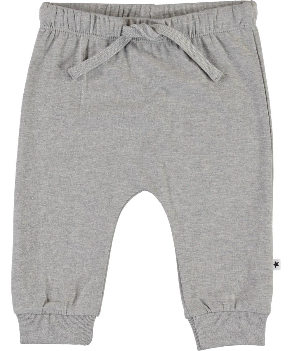 Sille - Grey Melange - Grey organic baby trousers