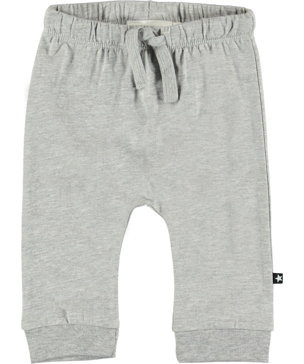 Sille - Light Grey Melange - Grey baby trousers.