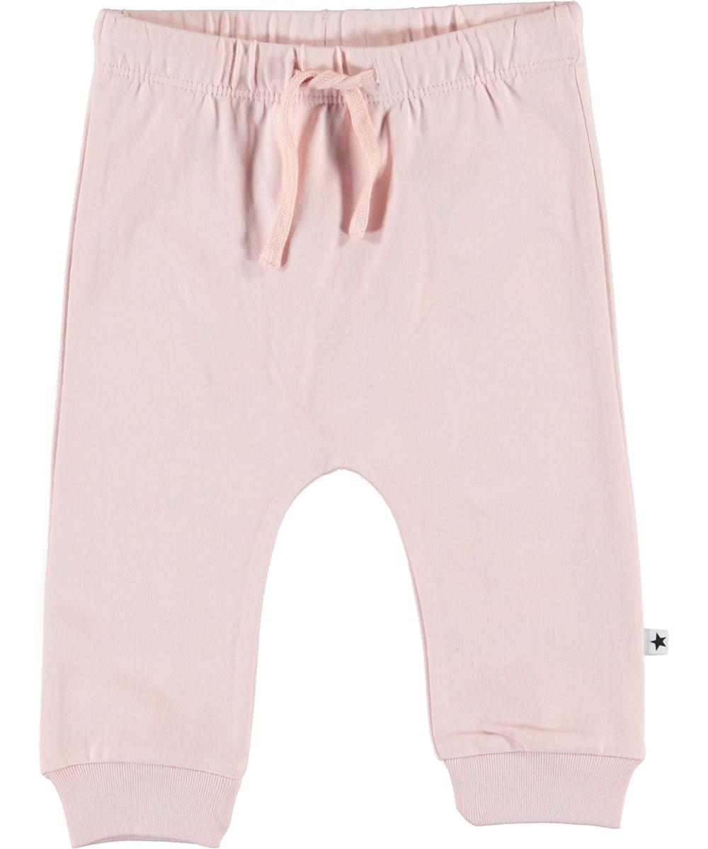 Sille - Powder - Pink baby trousers with ties