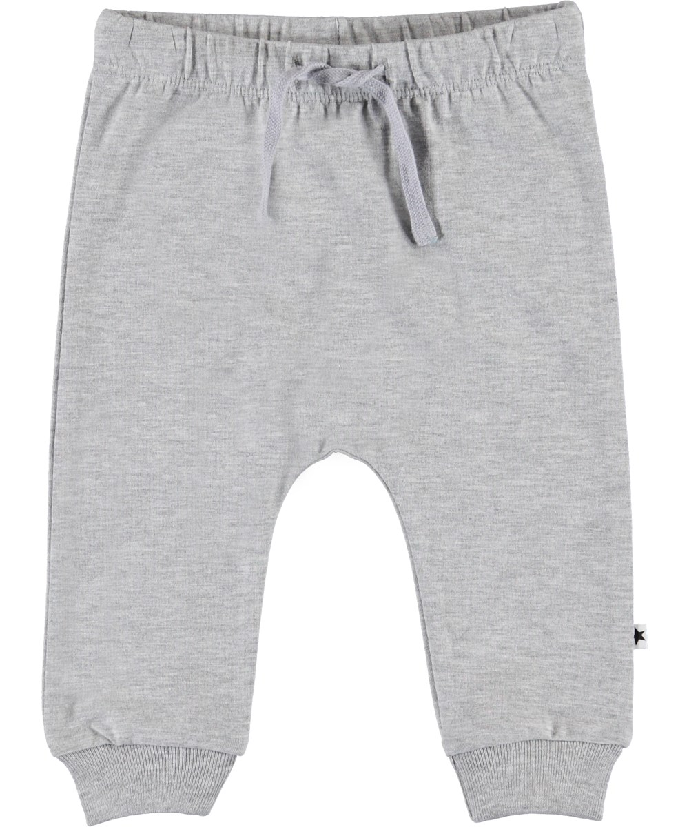 Sille - Light Grey Melange - Grey baby trousers with ties