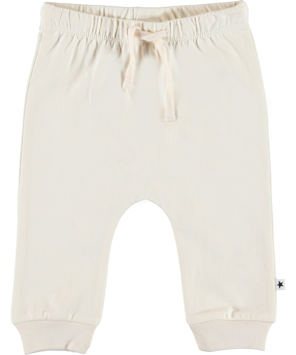 Sille - Pearled Ivory - Light-coloured baby trousers with ties