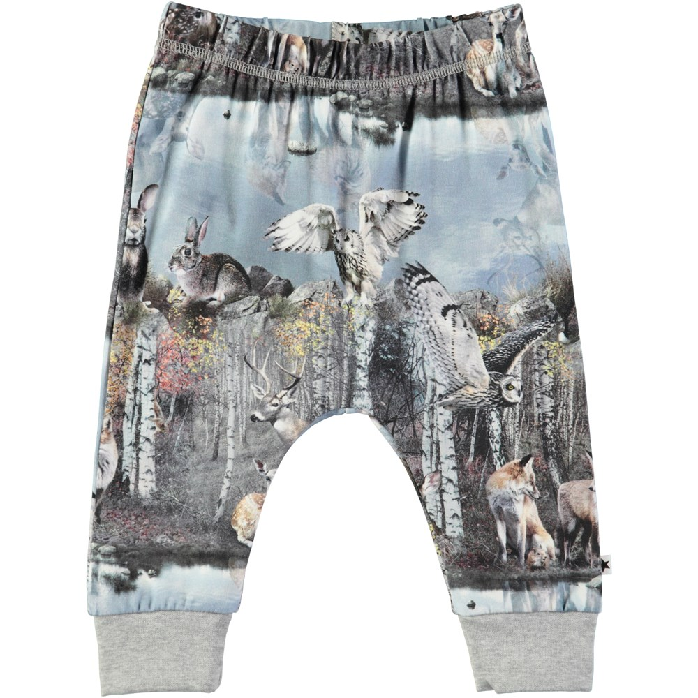 Simone - By The Forest Lake - Baby trousers with digital animal print