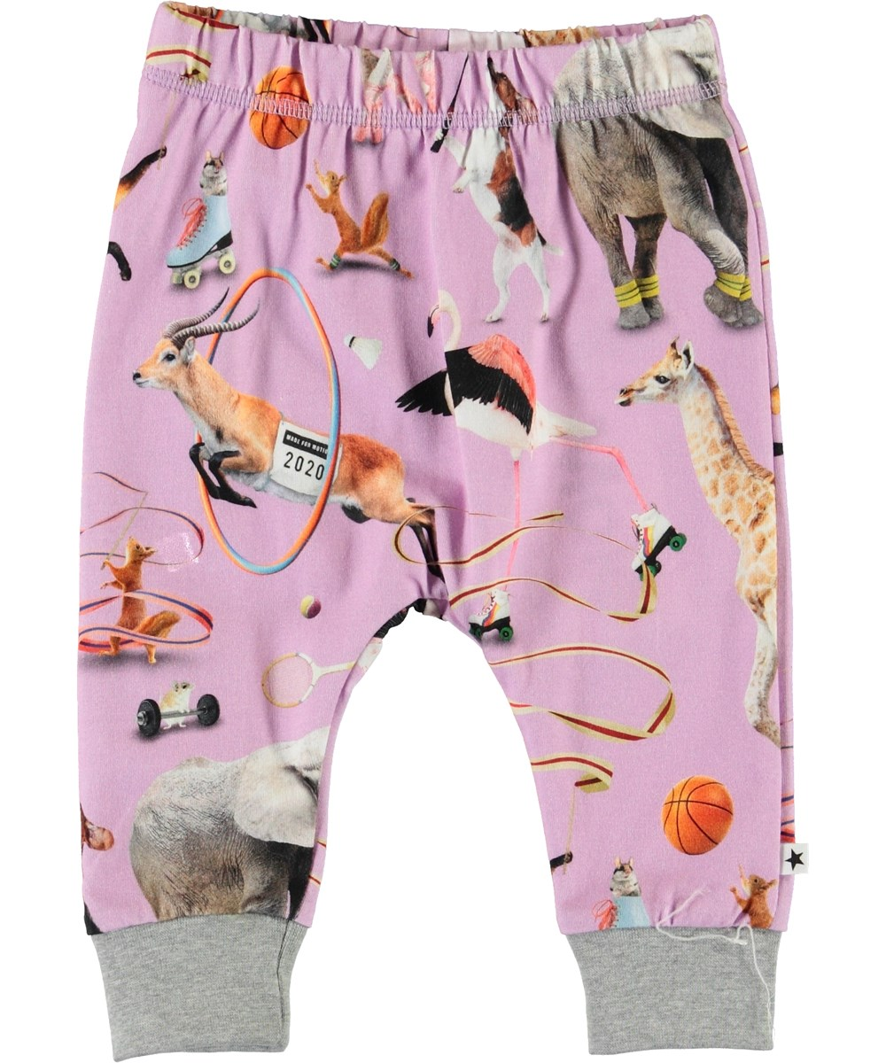 Simone - Made For Motion - Purple baby trousers with animals