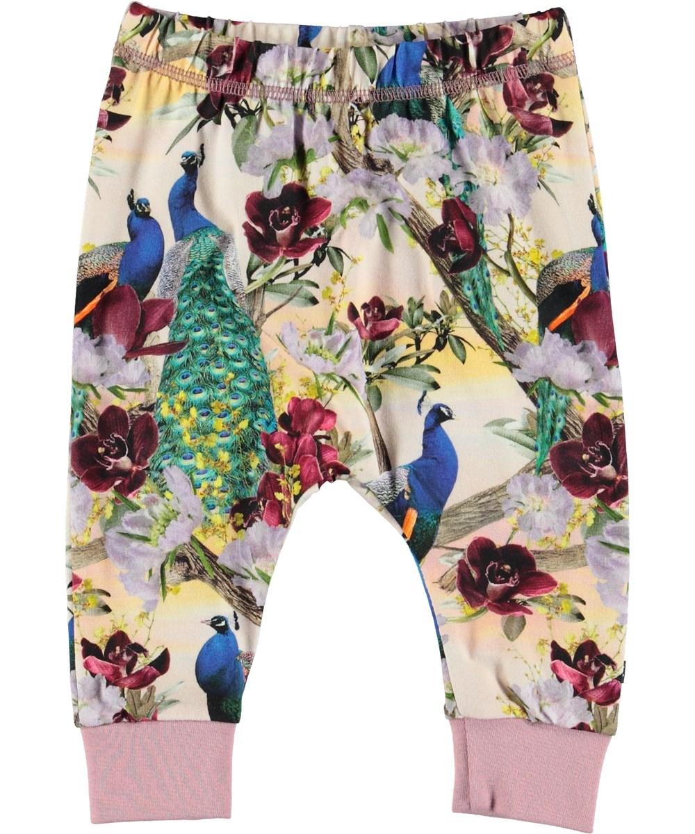 Simone - Oriental Peacocks - Baby trousers with peacocks.