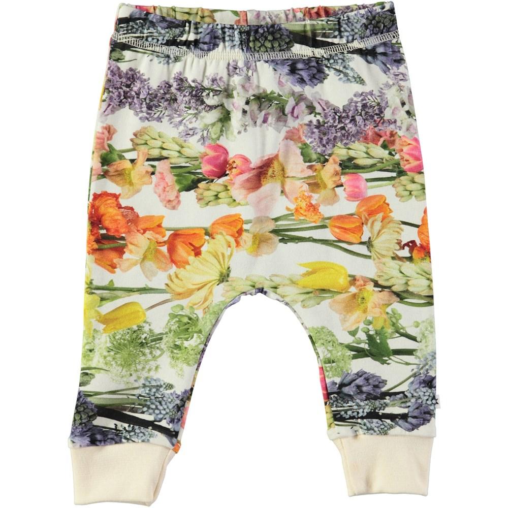 Simone - Rainbow Bloom - Baby trousers with digital flower print