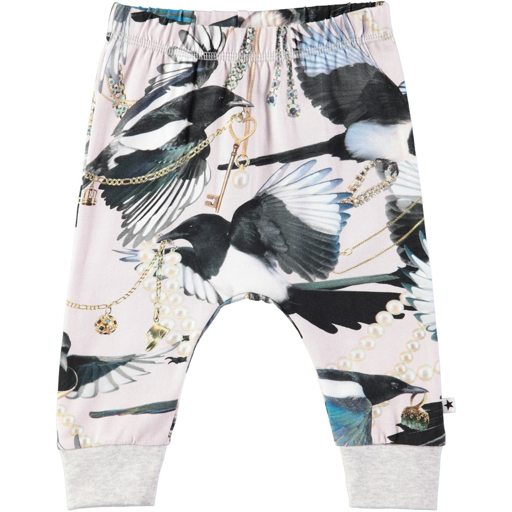 Simone - Treasure Hunters - Baby trousers with digital magpie print