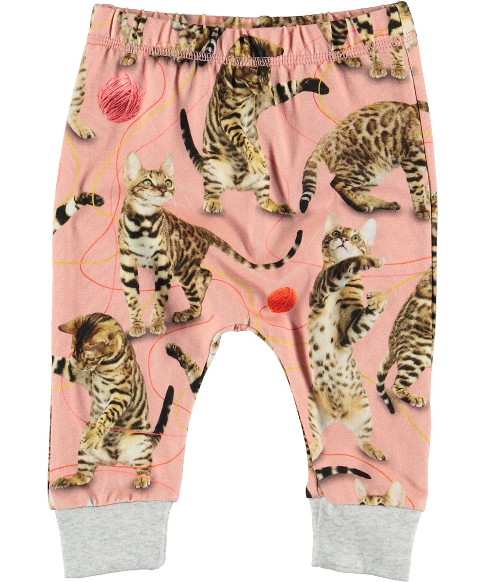 Simone - Wannabe Leopard - Pink baby trousers with cats.