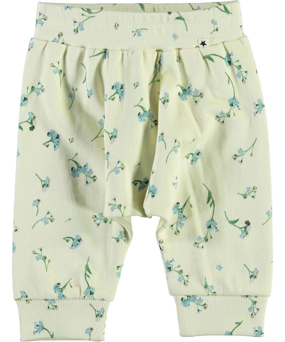 Sona - Forget Me Not - White baby trousers with blue flowers
