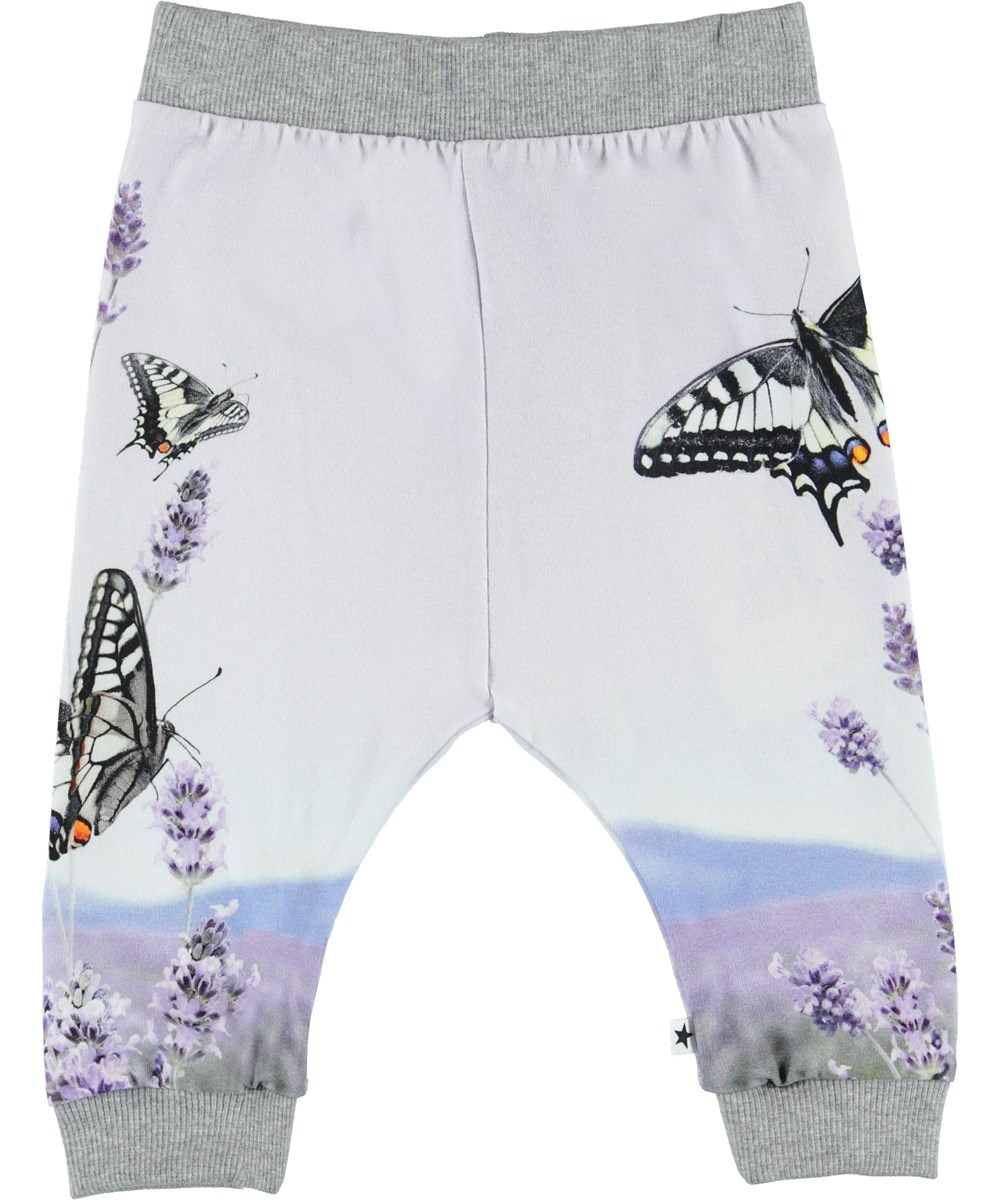 Susanne - Lavender Butterfly - Organic baby trousers with butterflies
