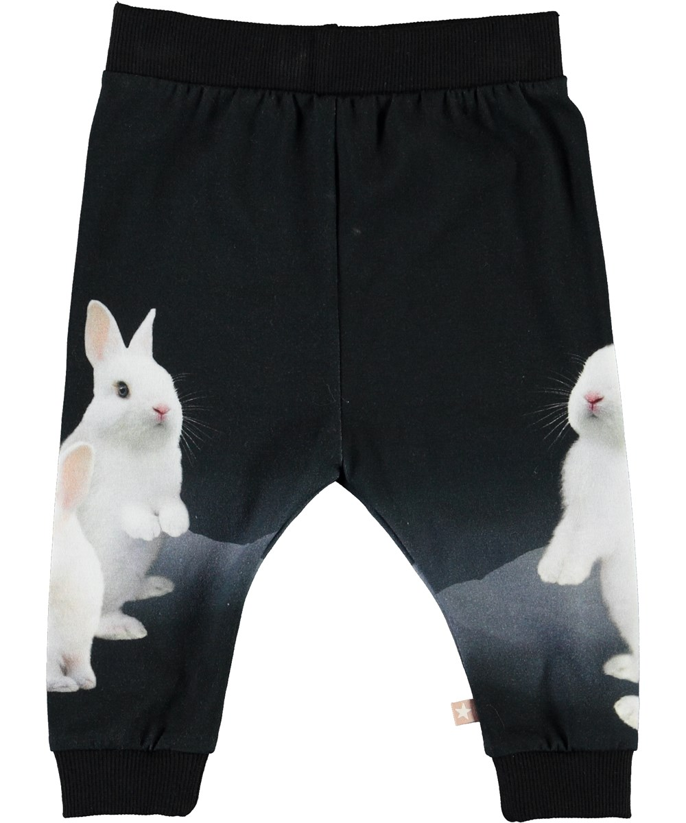 Susanne - White Bunnies - Black baby trousers with bunnies
