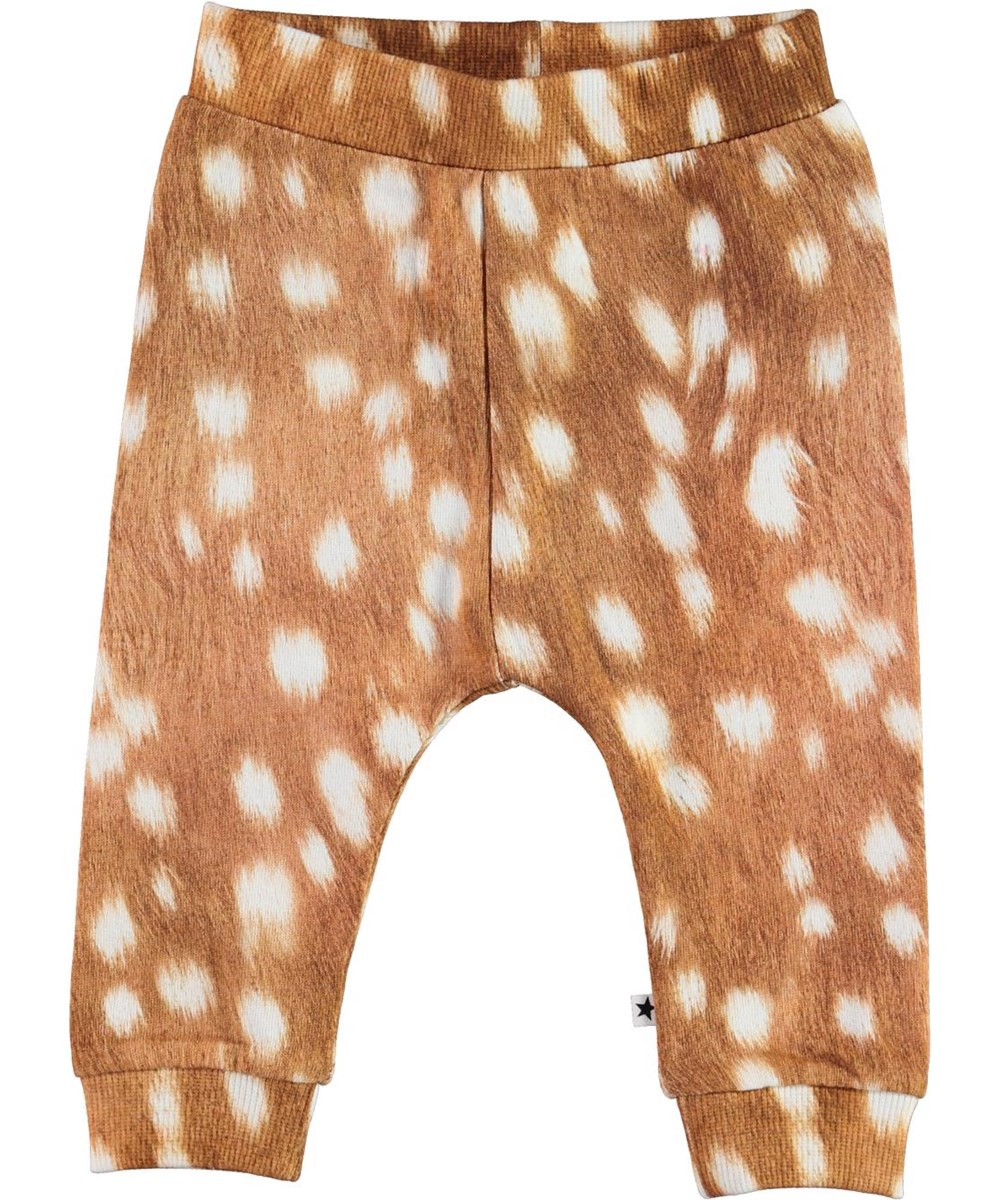 Susannen - Fawn AOP - Organic baby trousers in brown with white spots