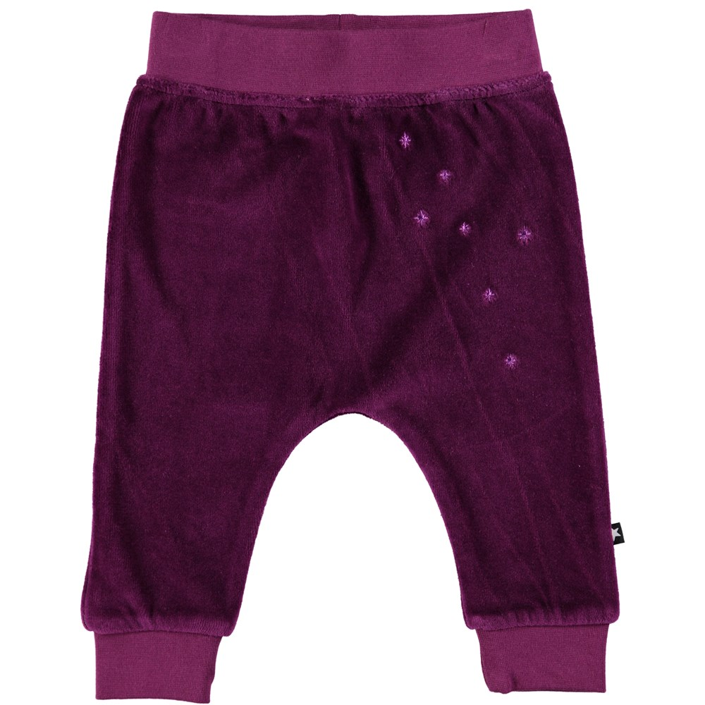 Susse - Beet Root - Baby trousers in a beet red velour