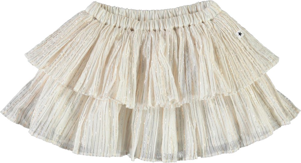 Bianca - Metalic Stripe - White baby skirt with metallic stripes