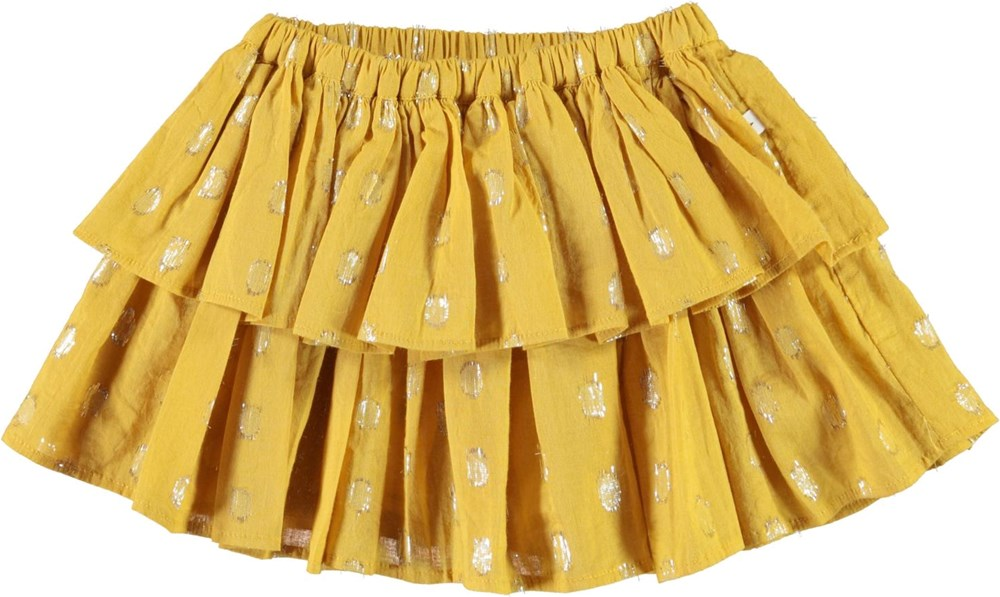 Bianca - Nugget Gold - Baby skirt in yellow with gold dots